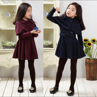 Wholesale 2016 Autumn Little gentlewoman Knitted Full Sleeve Solid Wind coat Cappa Clothing Clothes Dark Blue Wine Red Dress