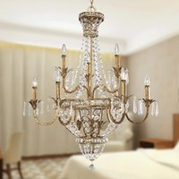 Wholesale Large Art Work - Vintage -6 Light Large Crystal Chandelier Floral Wrought Iron Pendant Chandelier Lighting for Hotel Home Deco