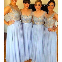 Wholesale 2017 Sky Blue Sheer Bridesmaid Dresses Chiffon Appliqued A line Long Brides Maid Gowns For Women Bridesmaids Cheap Price