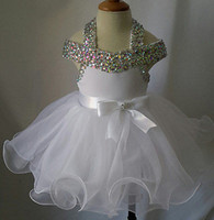 beaded baby dolls - Sell like hot cakes Halter Beaded Infant toddler baby children kids Glitz Baby Doll Pageant Dress