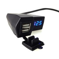 Wholesale GPS A Motorcycle in dual USB port Phone charger and red led voltmeter With waterproof cover