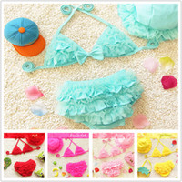 Bikinis Girl Children's Day Wholesale -2017 New Infant Bikini baby Swimwear Baby Girl Lovely Three-piece Swimsuits children Split swimsuit GA007