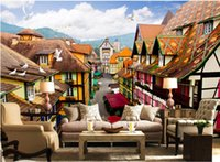 Non Woven architecture pictures houses - 3d room wallpaper custom photo non woven mural European architecture street painting picture d wall murals wallpaper for walls d