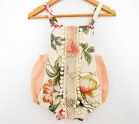 babies bodysuit - NWT INS summer baby girl lace Rose floral romper onesies Newborn Infant sweet Clothes Tassels Strap Lotus Romper Bodysuit Jumpsuits
