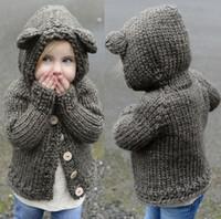 Wholesale Girl s Fashion Hooded Knit Sweater Coat Cute Bear Ears Cardigan Outerwear