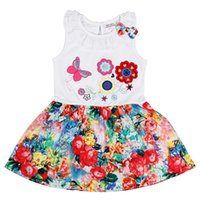 Knee-Length baby doll spandex - Baby Girls Flower Print Lace Doll Collar Boat Neck Bow Cotton And Spandex Sleeveless Knee Length For Years Old Pleated