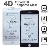 Nuevo protector completo de la pantalla de la cubierta de la llegada los 0.2MM 4D para el iPhone 7 7 más alta calidad I7 3D curvó el vidrio templado con la caja al por menor