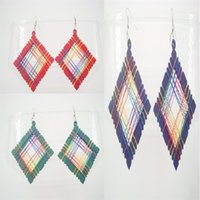Wholesale Women Different Charming Colors Green Red Purple Big Wood Squares With Thread Grid Drop Dangle Earrings