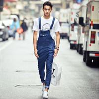 Wholesale Men s fashion loose lightweight denim overalls Male casual Korean style blue jumpsuits Bib pants denim jeans high quality