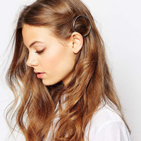 american experience - New Geometric circular hairpin Hair Clips Metal fashion hair Barrettes Simple design high end experience