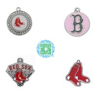 beads boston - 10pcs Sport style enamel bronze and antique silver plated Boston Red Sox baseball team logo charms jewelry