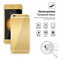 Wholesale For iPhone plus s plus s SE Electroplated Colorful Tempered Glass Front Back Screen Protector Package Front Back
