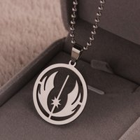 ball chain neclace - ER Stainelss Steel Star Wars Jedi Order Necklace Silver Ball Chain Neclace Men Star Wars Rebels Pendant Collier MN001