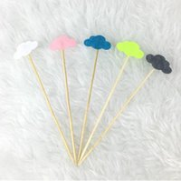 baby shower fruit - New pieces Clouds Hot Air Balloon Cupcake Cake Toppers Cake Flags Wedding Birthday Party Baby Shower Baking Fruit Picks Decorations