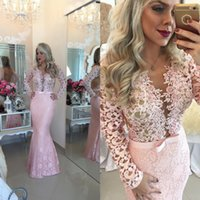 Wholesale V neck Long Sleeve Prom Dresses See Through Back Pink Pearls Beading Lace Mermaid Prom Dress for Graduation Floor Length