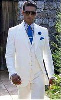 beach perfume - Beach Linen White Men Wedding Suits Casual Notched Lapel Groom Tuxedo Men Slim Fit jacket pant vest tie perfume masculino