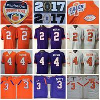achat en gros de patches oranges-Remise des finales 2017 Tous les hommes cousus College Clemson Tigers Maillots 2 Sammy Watkins 3 Artavis Scott 4 Deshaun Watson Champions Orange Purple