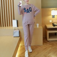 Wholesale Good Quality Autumn Winter Pregnancy Clothes Maternity Suits Pregnant Women Long Sleeve Tops Adjustable Belly Pants Set RD0087