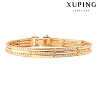 america channels - Luxury Rhinestone Hand Chain K Gold Color Tennis Bracelet for Europe America Copper Zirconia Jewelry Link Chian from Xuping