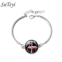 art nouveau bracelet - newest Art Nouveau Pink Flamingo Bird glass bracelet cabochon Art jewelry bracelets