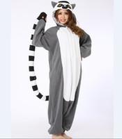 adult monkey onesie - Novelty Animal Lemur Long Tail Monkey Adult Onesie Unisex Women Men s Pajamas Halloween Christmas Party Costumes