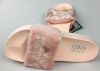 Wholesale hot sale Rihanna Fenty Leadcat Fur Slides Pink Black White Slide Sandal Womens Slippers retail Fashion PuMas Rihanna shoes sneaker