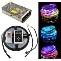 Super 6803 IC Led Strips 20M 30m 5050 RVB rêve couleur magique Bande LED 30leds / m étanche +133 Programme contrôleur RF + Alimentation