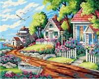 Wholesale 2017 new Diamond Embroidery needlework diy Diamond painting Cross Stitch Kits Rural scenery full round diamond mosaic Room Decor YY0023