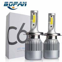 Wholesale 1 Set W LM COB Chip C6 LED Headlight conversion kit W LM H4 Car LED Headlight Bulb