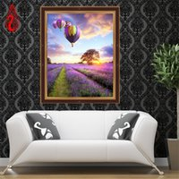 air mosaic - YGS DIY D Full Diamonds Embroidery Diamond Mosaic Lavender flowers and hot air balloon Round Diamond Painting Cross Stitch