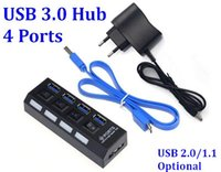 Wholesale 500pcs ports USB High Speed Hub usb Portable USB Hub With On Off Switch USB Splitter Adapter Cable For PC Laptop