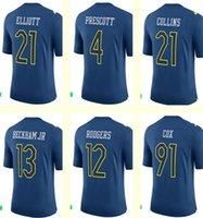beckham games - Men s Ezekiel Elliott Dak Prescott Landon Collins Beckham Jr Aaron Rodgers Fletcher Cox Navy Pro Bowl Game Jersey
