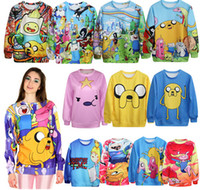 Wholesale Adventure Time Cartoon D Printed Sweatshirts Sping Autumn Harajuku Style Long Sleeve Pullover Hoodies Women Men Fashion Casual Clothing