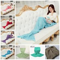 Wholesale Adult Mermaid Tail Blanket Sleeping Bags Mermaid Crocheted Blanket Handmade Bedding Shark Wrap Cartoon Air Condition Blanket OOA1055