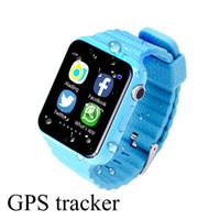 Appel android France-V7K imperméable Kids GPS montre intelligente enfants Safe Anti-Lost montres avec l'appareil photo / facebook SOS appel emplacement Device Tracker