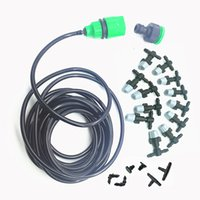 PC misting hose - 1 Sets Fog Nozzles Irrigation System Portable Misting Automatic Watering m Garden Hose Spray Head With mm Tee And Connector