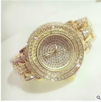 achat en gros de robe austrian-Nouvelle Mode Plein Diamant Quartz Montre BS Brand Gold Dress Montre Femme Luxe Autrichienne Montre Cristaux Lady Bracelet Charm Bangle