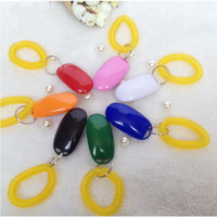 Wholesale Fashion Dog Pet Click Clicker Training Trainer Aid Wrist Strap Mix colors