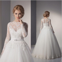 Wholesale 2016 Sexy New Sheer Lace Long Sleeves Backless A Line Wedding Dresses Tulle Applique Beaded Court Train Bridal Gowns