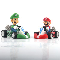 Wholesale Hot Sale Classic Game Super Mario Bros Action Figures Kart PULL BACK Cars Mario Luigi CM PVC Super Mario Figure Car Toys Gift