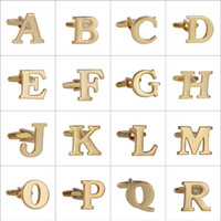 alphabet cuff links - Tilted A Alphabet Cufflinks High Quality Initial Letter Gold Round Cufflinks For Men Wedding Groom Fathers Day Cordao De Ouro