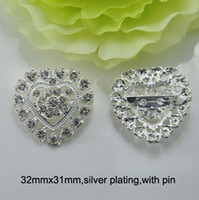 Wholesale J0640 mmx31mm rhinestone metal brooch with pin at back silver plating with pin heart shape