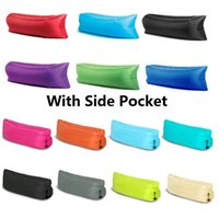 Wholesale New Fast Infaltable Sleep Bag Seconds Quick Open Lazy Sleeping Bed Air Sleep Camping Bed Beach Sofa Outdoor Pads With side pocket I037