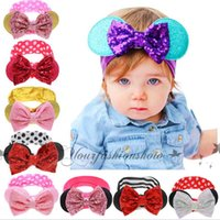 best bow cases - Best Case Cute Baby hairband Rabbit Ear Headband Baby Girl Sequined Bow Headwear Kids Elastic Hair Accessories B08
