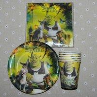 Precio de Tercero-Wholesale-60pcs Shrek la tercera favor de la FavorGift del cumpleaños favorece la placa de la taza de la servilleta para las fuentes del partido del acontecimiento de la decoración de la fiesta de cumpleaños de los niños