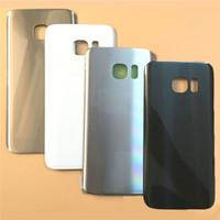 оптовых samsung назад корпус-Samsung Galaxy S7 G930 S7 край G935 Стекло двери батареи Корпус Задняя крышка CaseLogo + стикер, крышка батарейного отсека свободная перевозка груза DHL
