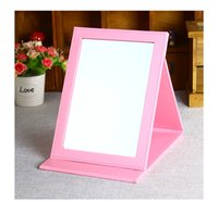 Wholesale Folding up portable desktop black pu leather toilet glass mirror lens with a mirror