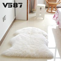 Stripe artificial textiles - Hairy Carpet Sheepskin Chair Cover Bedroom Faux Mat Seat Pad Plain Skin Fur Plain Fluffy Area Rugs Washable Artificial Textile