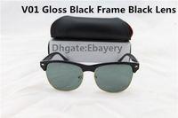 Wholesale High Quality Sunglasses Half Frame Men Women Brand Designer Sun Glasses Big Frame Glass Lens with Box Case gafas de sol oculos