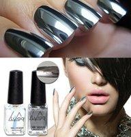 Wholesale fashion pc ml Silver Mirror Effect Metal Nail Polish Varnish Top Coat Metallic Nails Art Tips nail polish set